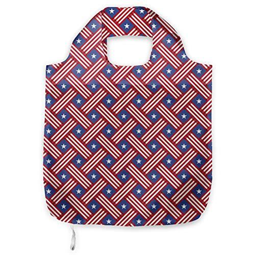 ABAKUHAUS 4 de julio Bolsa Reutilizable Plegable para Compras, Diagonales rayas Estrellas,...