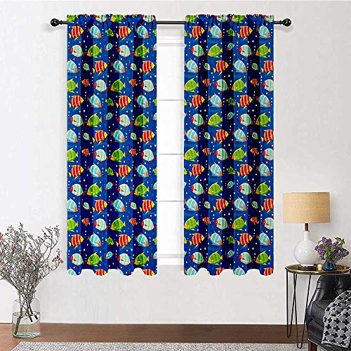 Adorise Blackout Curtains Colorful Striped Cartoon Fishes Swimming in The Sea with Bubbles Aquatic Life Theme Blackout Window Treatment for Kitchen/Bedroom (2 Pieces, 27.5 inches Wide Each Panel)