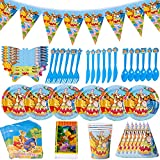 Birthday Party Decoration,CYSJ 54 pcs Winnie The Pooh Party Pack for,Winnie The Pooh Theme Kids Baby Shower Gender Reveal Birthday Party Decoration Party Supplies,Plates Cups Napkins Banners