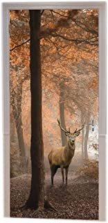 A.Monamour Deer in Red Foggy Autumn Forest Colorful Trees Animal Themed Nature Scenery Printed Vinyl Room Door Decals Wallpaper Wall Murals Removable Door Stickers Posters DIY Art Decors for Home