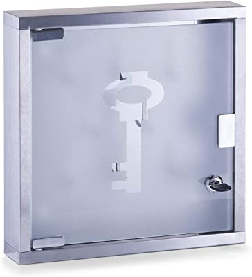 Zeller 13890 Armoire à clés en acier inoxydable/verre, 30 x 6 x 30 cm
