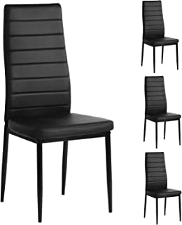 Aingoo Kitchen Chairs Set of 4 Dining Chair Black with...
