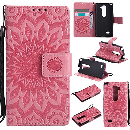 NEXCURIO [Embossed Flower] LG Leon LTE/Tribute 2 / Power/Destiny/Sunset Wallet Case with Card Holder Folding Kickstand Leather Case Flip Cover for LG Leon (Pink)