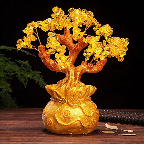 VOVOV Feng Shui Pale Gold Crystal Money Tree Bonsai...
