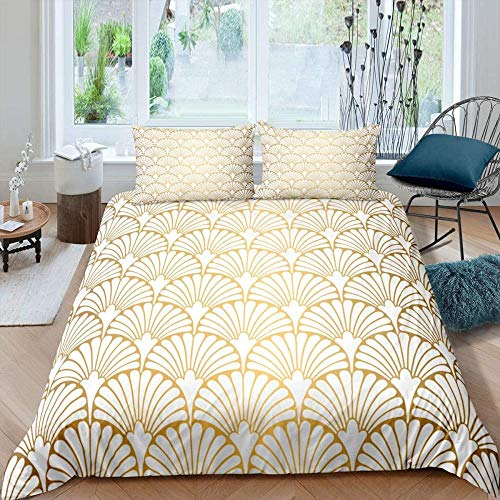 Hqooaceo 3 Pieces Kids Duvet Set With- Bedding 3D Printed Golden Shell Stripe Simple Pattern Double (200 X 200 Cm) -Soft Easy Care Anti-Allergic Bedding Set Gift For Teens Girls