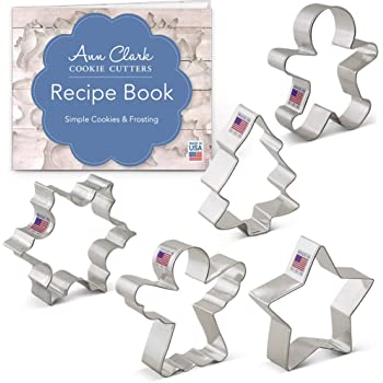 Ann Clark Cookie Cutters 5-Piece Christmas and Holiday Cookie Cutter Set with Recipe Booklet, Snowflake, Star, Christmas Tree, Gingerbread Man and Angel