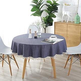 Meioro Enfärgad rund bordsduk med tofsar, rektangulär bordsduk i bomull, multifunktion, för inom- och utomhusbruk...