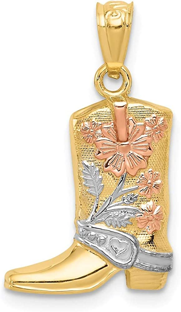 14k Yellow Gold Rose White Floral Boot Pendant Charm Necklace Western Fine Jewelry For Women Gifts For Her