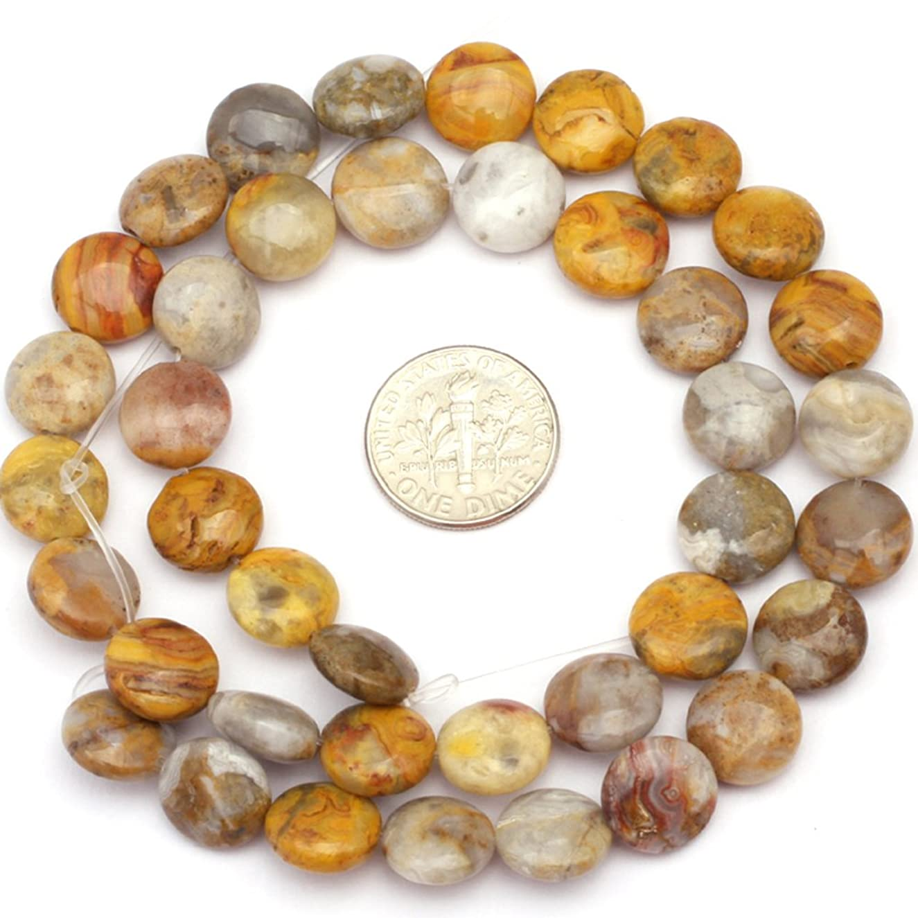 Crazy Lace Agate Beads for Jewelry Making Natural Semi Precious Gemstone 10mm Coin Strand 15