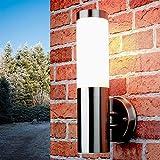 Schlichte Außenlampe Edelstahl Silber IP44 33cm Ø8cm Eingang Terrasse Garten Wandlampe Außenleuchte