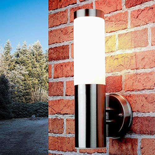 *Schlichte Außenlampe Edelstahl Silber IP44 33cm Ø8cm Eingang Terrasse Garten Wandlampe Außenleuchte*