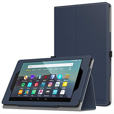 Black Folio Multi Function Standby Case for the Kindle Fire HD 7 Tablet 2014-2015 Edition-Back /& Front Facing Camera with Built-in Magnet for Sleep//Wake Feature and Stylus Loop Holder