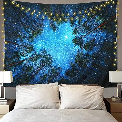 Dremisland Tapisserie wandteppich Psychedelic Wald Bäume und Sterne Sternenhimmel schöne Wand hängende Hausdekor Bettdecke Decke Tuch wandtuch wandbehang Tapestry Star(M/203X153cm(80