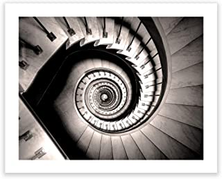 Humble Chic Wall Art Prints - Unframed HD Printed Modern Picture Poster Decorations for Home Decor Living Dining Bedroom Kitchen Bathroom Office Dorm Room - Spiral Stairway Stairs, 16x20 Horizontal
