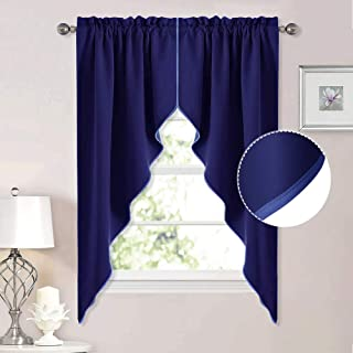 NICETOWN Blackout Rod Pocket Kitchen Tier Curtains- Tailored Scalloped Valance/Swags for Living Room (Dark Blue, 1 Pair, W36 X L63 Inches Each Panel)
