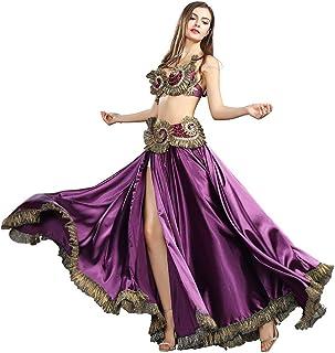 ROYAL SMEELA Bauchtanz Rock BH Gürtel Frauen Damen Tanzen Kleidung Bauchtanz Kostüm Outfit Flamenco Langer Rock Maxirock Strass BH Gürtel Anzug Schwarz Lila