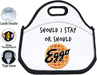 Hugo Payne Should I Stay or Should I Go Eggo Waffle Neoprene Lunch Tote Bag Thick Insulated Lunch Bag Portable Lunchbox Outdoor
