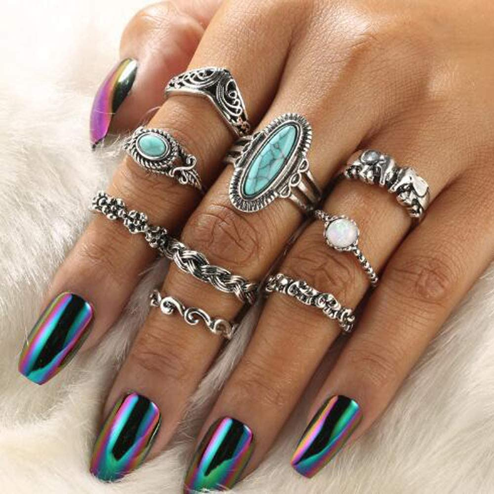 YERTTER Boho Turquoise Stacking Rings Set Gemstone Joint Knuckle Ring Set Vintage Mid Rings for Women and Girls