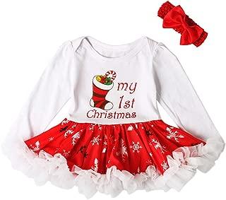 Newborn Baby Girl Tutu Dress Outfit Set Letter Print Ruffle Dress + Bow Headband