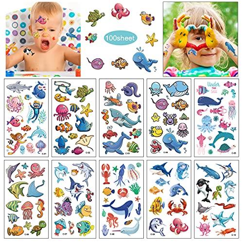 100 Fogli Tatuaggi Temporanei per Bambini, Adesivi per Tatuaggi Mondo Animale, impermeabile tatuaggio temporaneo bambini festa di compleanno sacchetti regalo Giocattolo finto