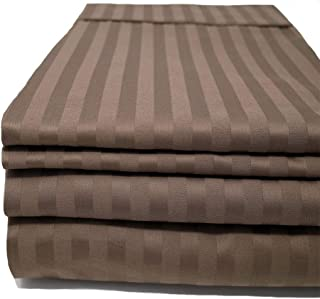 CinchFit USA & Maine Made Sheets - The Only Stay On and No Tear Design - Split Flex Top King - No Tear - Adjustable Bed Sheet Set 600 Thread Count 4PC 100% Cotton Damask Stripe (Taupe)
