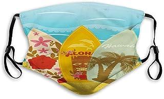 Hawaiian Beach Surfboards on The Sand Exotic Summer Vacation Sport Vintage Style Reusable Face Mask Balaclava Outdoor Nose...
