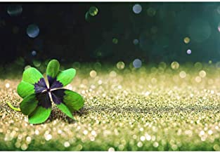 Leyiyi Saint Patrick's Day Backdrop 5x3ft Photography Backdrop Lucky Four-Leaf Clover Virtual Halo Bokeh Sparkling Sequins Spring Party Backdrop Children Baby Adult Portraits Studio Props