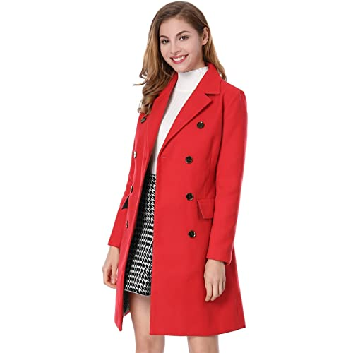 f23e627276 Allegra K Women s Long Jacket Notched Lapel Double Breasted Trench Coat