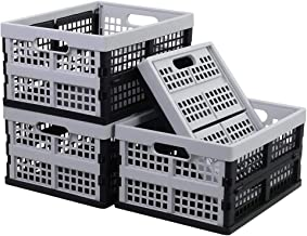 Readsky 16 Litre Plastic Folding Collapsible Storage Crates Storage Baskets, Black and Light Grey, 4 Packs