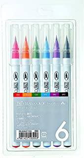 Kuretake Fude Real Brush Pen, Clean Color, 6 Set (RB-6000AT/6VA)