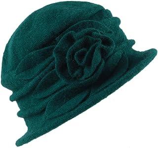 6baffd9459c Misscat Lady s Vintage Fleece Wool Blend Cloche Bucket Hat Floral Trimmed