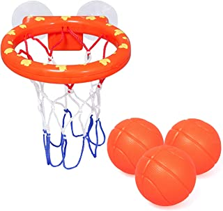 zoordo Bath Toys Bathtub Basketball Hoop Balls Set for Toddlers Kids with Strong Suction Cup Easy to Install,Fun Games Gif...