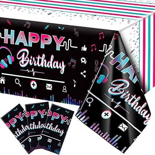 3 Piezas Manteles de Happy Birthday Cubierta de Mesa Temática de Redes Sociales de Música Mantel Plástico Desechable de Feliz Cumpleaños con Nota Musical de Decoración, 108 x 54 Pulgadas