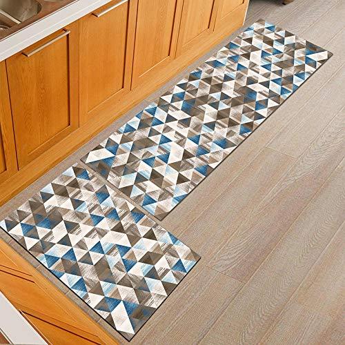 gris2 Piece Non-Slip Kitchen Mat Antideslizante Alfombra de Lavable Aceite Resistente Manta Larga Decorativa para Baño Comedor Dormitorio Impermeables Antideslizantes 50x80cm+50x160cm