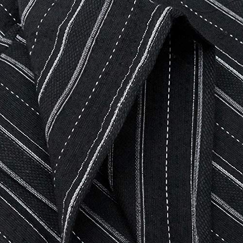 [キョウエツ]浴衣セット小粋3点セット(浴衣、ワンタッチ角帯、腰紐)メンズ(M,C-19.勝手縞×黒(ワンタッチ角帯紫))