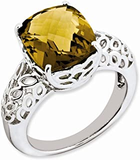 925 Sterling Silver Checker Cut Whiskey Quartz Band Ring Size 7.00 Gemstone Fine Jewelry Gifts For Women For Her