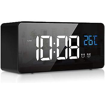 Digital Wecker, LED Digitaluhr Tischuhr mit Sprachsteuerung Funktion und Temperatur Display, Spiegelalarm mit Dual Alarm Snooze Zeit 4 Stufen Einstellbarer Helligkeitsdimmer 13 Musik USB Ladeanschluss
