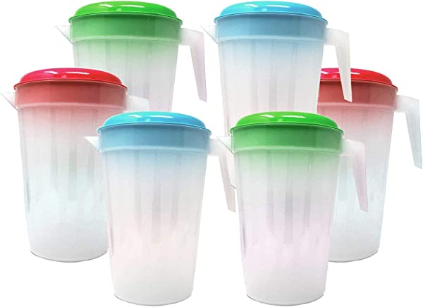 6 Pack Heavy Duty 1 Gallon 4 5 Liter Round Clear Plastic Pitcher Jug With Lid See Through Base Handle For Water Iced Tea Beverages