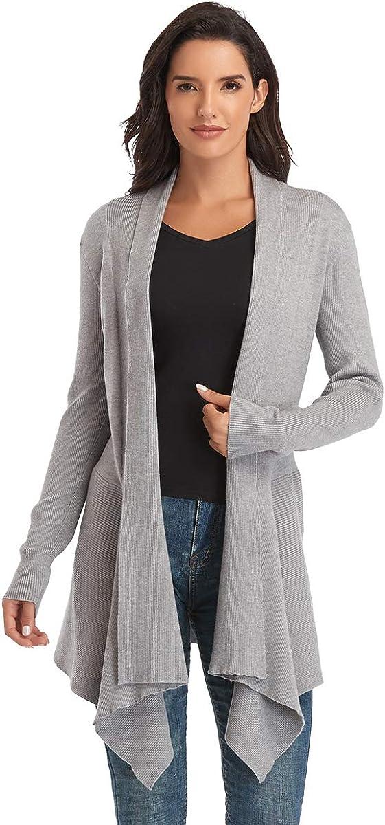 Dilgul Women Drape Max 44% OFF Open Front Sweater Max 86% OFF Irreg Sleeve Long Cardigan