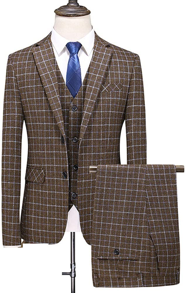 YFQHDD Men Dress Suits British 3Piece Men Wedding Suit New 2021 Autumn Mens Business Formal (Color : Brown, Size : 5XL for 85 to 90 kg)