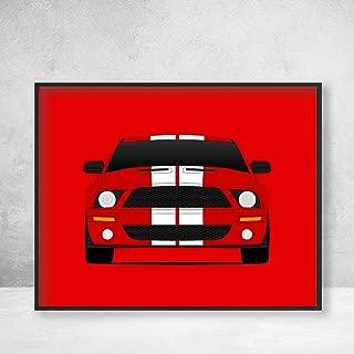 Shelby GT500 S197 Ford Mustang Cobra (2007-2009) Poster Print Wall Art Decor Handmade Carroll Shelby