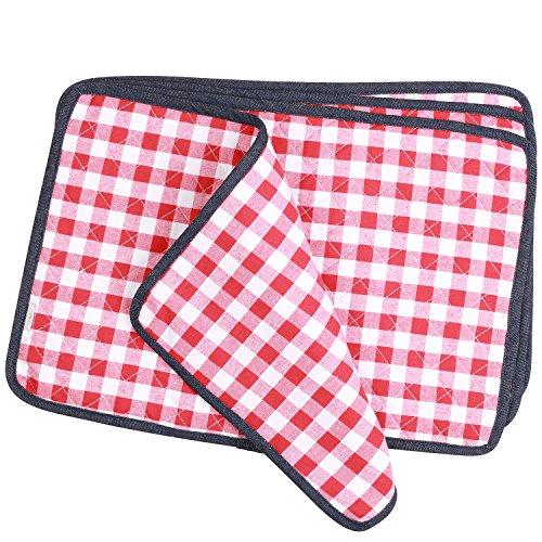 NEOVIVA Juego de 4 manteles de algodón para mesa de comedor, estilo Tiffany, color rojo