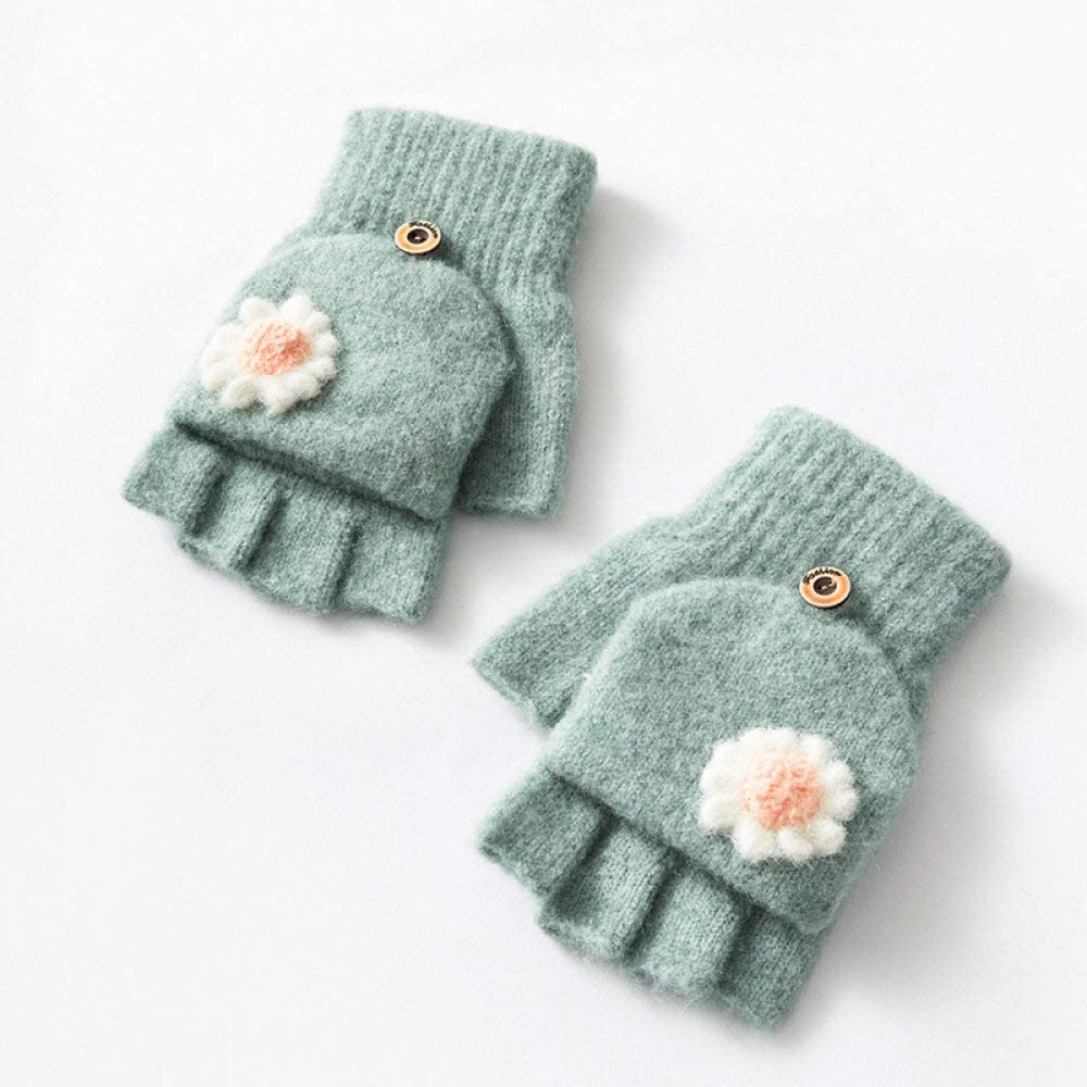 Fingerless Gloves for Women,Cute Flower Knitted Half Finger Gloves Women Fingerless Mittens Winter Convertible Gloves with Cover for Writing Playing Computer