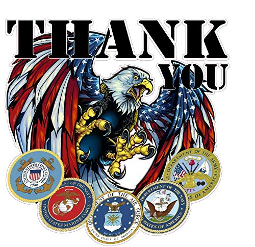 Military Thank You for Your Service v2 Sticker 5' х 5' for Car Decal Truck Window Laptop Auto Vinyl Motorcycle Helmet
