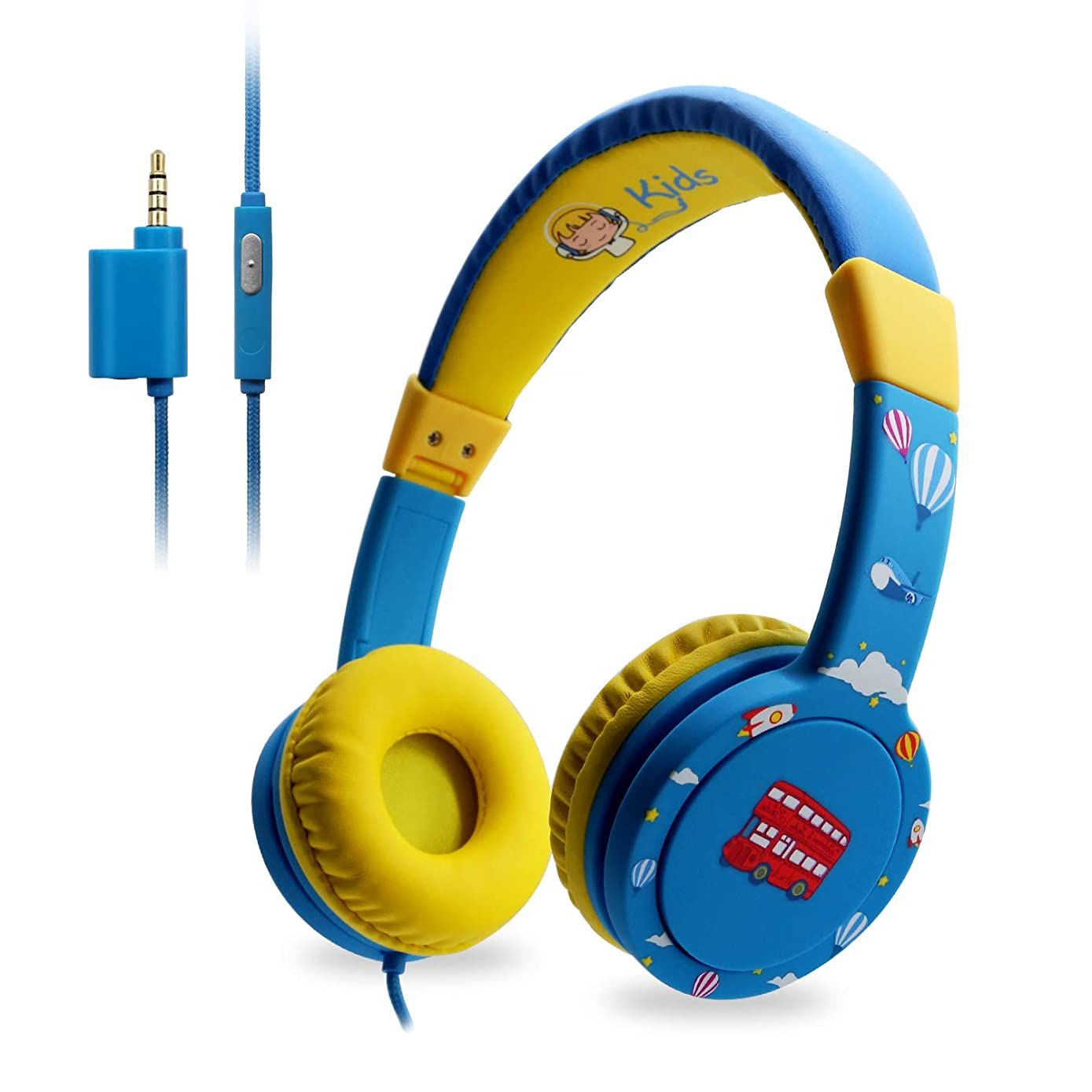 EasySMX Kids Headphones - Wired Headphones for Children Girls Boys, Adjustable Headband, Stereo Sound, in line Control,Share Port, 3.5mm Aux Jack, Child-Friendly ABS, 85dB Volume Limited - Blue