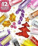 Original Briefpapier Mica Powder Pearl Pigment - 12er-Pack [Geschenkset mit unglaublichen Farben] -...