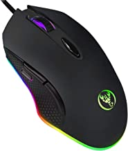 ERUN Gaming Mouse Wired, Chroma RGB Backlit Color 4DPI Adjustable Comfortable Grip Ergonomic Optical PC Computer Mice with Fire Button Mouse (Black)