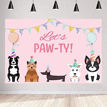 Zhy Puppy Paw Party Backdrop for Photography 7x5ft 2.1x1.5m Bones Colorful Balloons Background Party Decor Supplies Photo Shooting Props 100