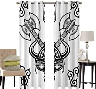 hengshu Viking Grommet Curtains for Bedroom Helmet with Horn Arrow Axe Antique War Celtic Style Medieval Battle Art Prints for Backdrop Curtain W100 x L63 Inch Black White