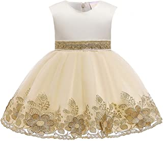Yotree Kids Girls Party Dress Royal Gold Beads Embroidery Lace Flower Ruffles Party Wedding Dresses